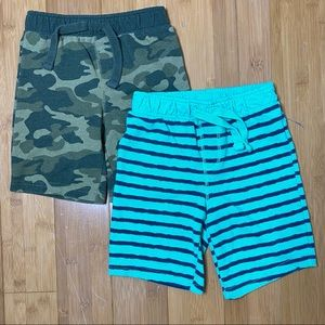 lot of 2 Old Navy knit printed shorts green 4T